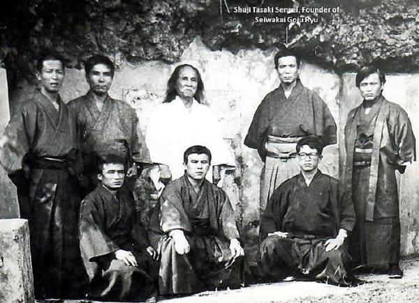 SHUJI TASAKI HANSHI IN A GROUP SHOT WITH GOGEN YAMAGUCHI, HANSHI